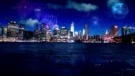 Firework display over New York video
