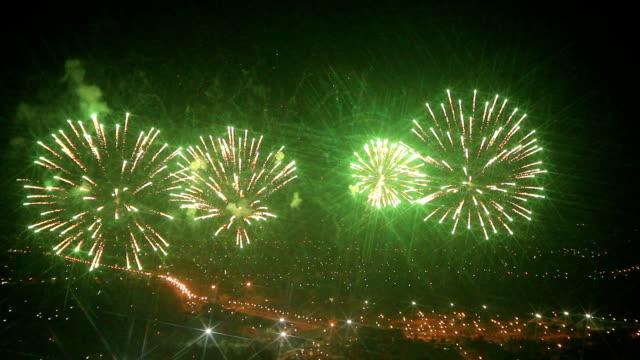 HD: Firework over city at dark night video