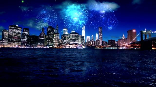 Firework over Manhattan New York video