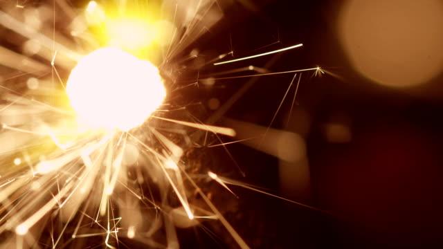 Firework sparkler in slow motion video
