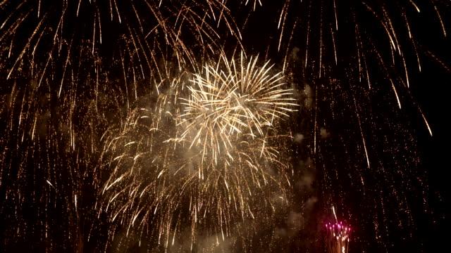 Fireworks against black sky video