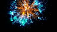 Fireworks bank, blue and orange, against black video