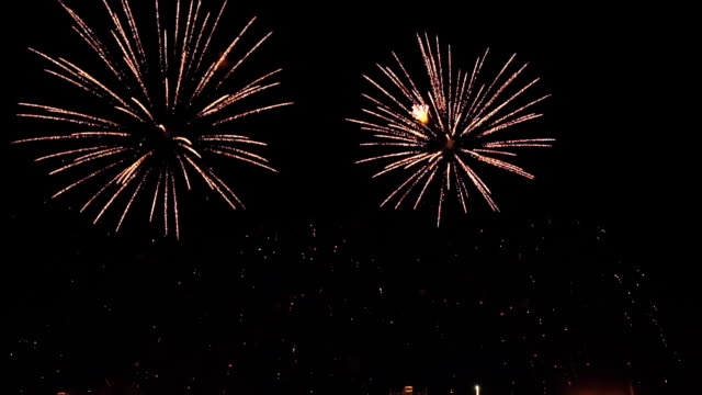 fireworks in slow motion on the black sky. 1 video