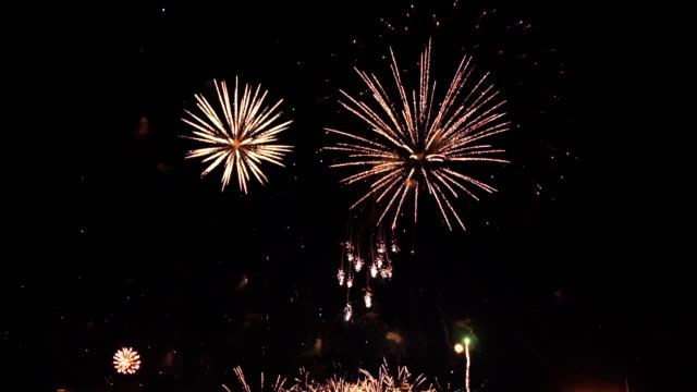 fireworks in slow motion on the black sky. 2 video