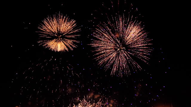 fireworks in slow motion on the black sky. 3 video