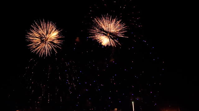 fireworks in slow motion on the black sky. 4 video