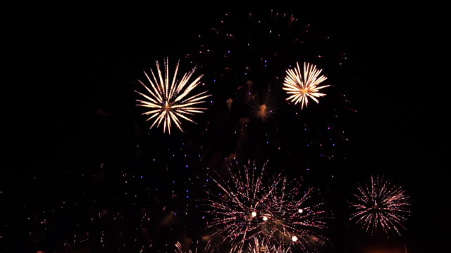 fireworks in slow motion on the black sky. 5 video