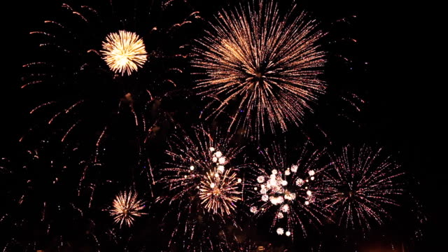 fireworks in slow motion on the black sky. 6 video