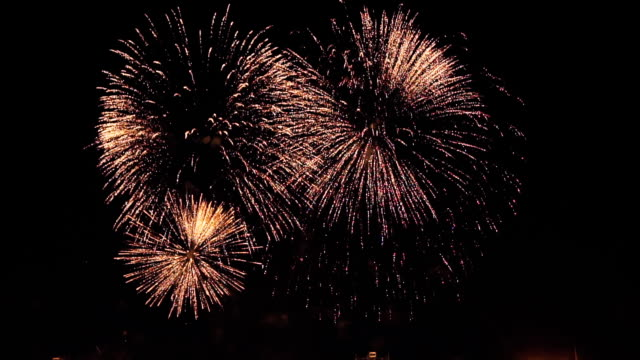 fireworks in slow motion on the black sky. 7 video