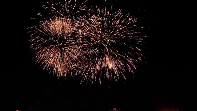 fireworks in slow motion on the black sky. 8 video