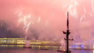 Fireworks timelapse over the city of St. Petersburg Russia on the feast of 'Scarlet Sails', view from roof video
