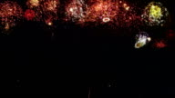 Fireworks with New Year greeting. 2015. Amber. video
