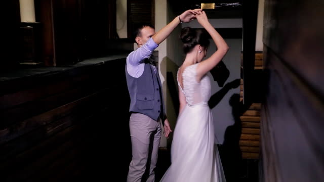 First wedding dance newlyweds on important day in house indoors video