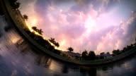 Fish eye effect. Sunset video