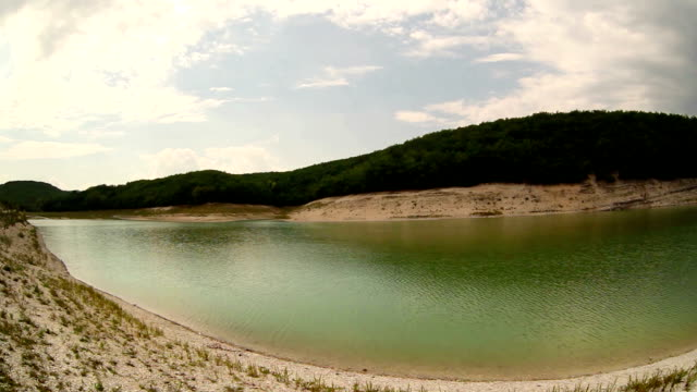 Fish eye slow-motion sliding camera video: high mountain lake on a clear day video