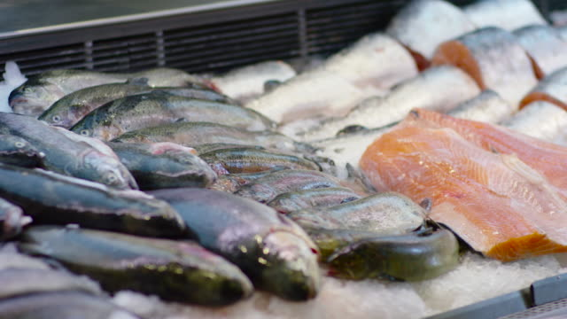 Fish row in a supermarket. video