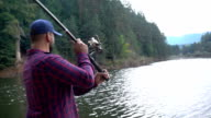 Fisherman throws fishing tackles video