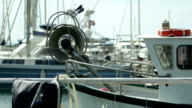 Fisherman's boat in the port of the Lavandou, Var, South of France video
