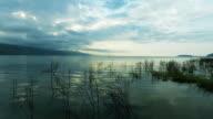 Fishermen on the mountain lake Sevan in Armenia video