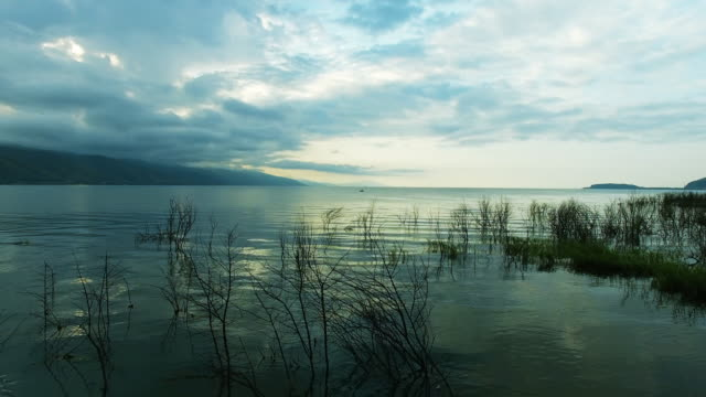 Fishermen on the mountain lake Sevan in Armenia video