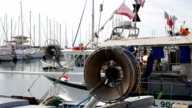 Fishermen's boats in the port of the Lavandou, Var, South of France video