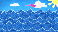 fishes in the sea loopable animation video