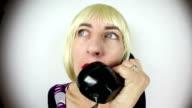 Fisheye Blonde Fast Talking On Old Phone video