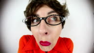 Fisheye Terrified Nerdy Woman video