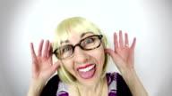 Fisheye Video Nerdy Woman Laughing and Teasing video