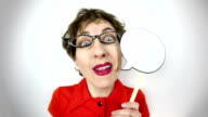 Fisheye Video Talkative Geeky Woman video