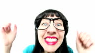 Fisheye Woman Reacting to Exciting News video