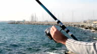 Fishing at the sea. video