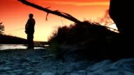 Fishing at sunset video