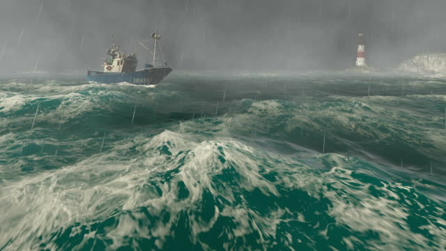 Fishing boat and lighthouse in the storm video