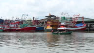 Fishing boat at port video