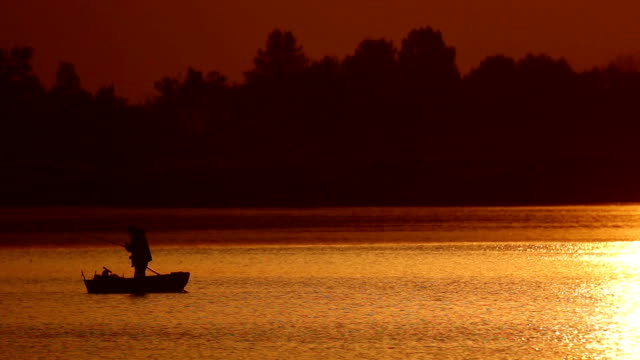 Fishing Boat at Sunset video