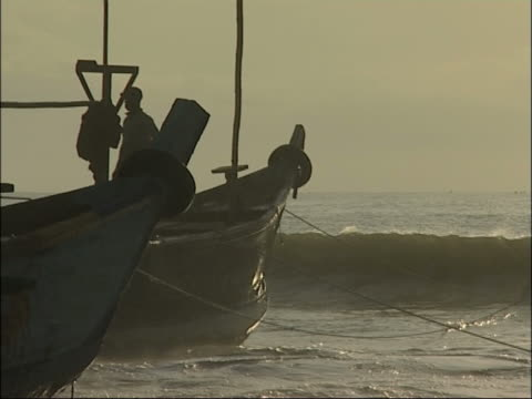 Fishing boats at african coast. video