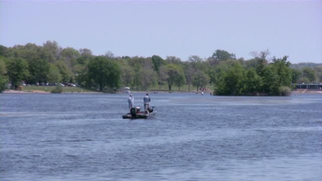 Fishing, fisherman, boat, lake. video