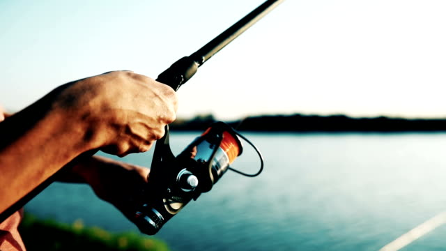 Fishing, hobby and recreational concept - fishermen video