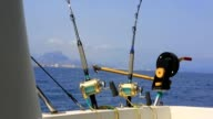 Fishing in a boat with downriggers and outriggers trolling for tuna video