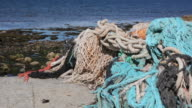 Fishing nets, Old rope at sea - HD & PAL video