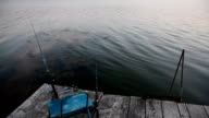 Fishing on a wooden pier. video