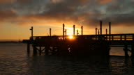 Fishing Pier Sunset and Barge, Fraser River video