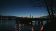 Fishing Pier Twilight, Ship Passing, Fraser River video