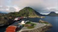 Fishing port Mortsund on Lofoten islands in Norway video