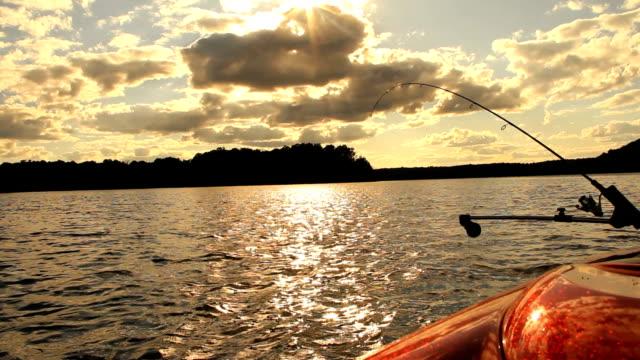Fishing Rod Trolling at Sunset Sunrise video