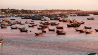 Fishing ships at sunset in Mui Ne, Vietnam video