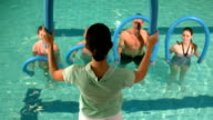Fit group doing aerobical excercises in the pool video