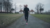 Fit healthy woman out jogging video