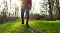 HD SLOW-MOTION: Fit Man Walking In Nature video